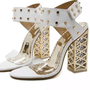 Adorable Fashion White & Gold Ankle Strap Sandals